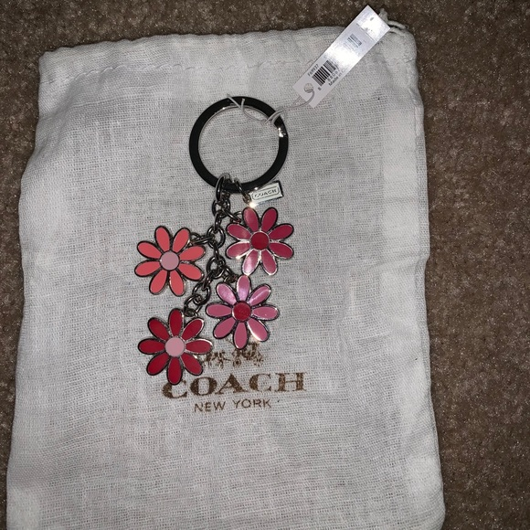 Coach Pink Multicolor Flower Key Chain
